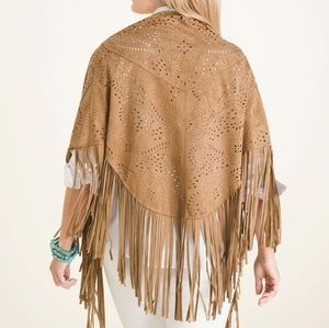 NWT Chico's faux suede fringe wrap